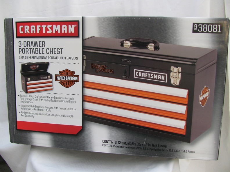Lot Hg017 Harley Davidson 3 Drawer Tool Box Boots Chaps And